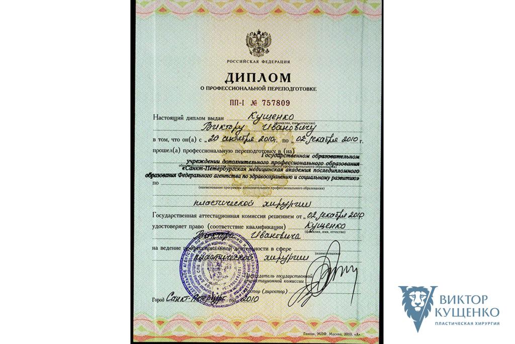 Диплом пластический хирург Кущенко